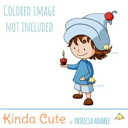 Gnome with cupcake digital stamp