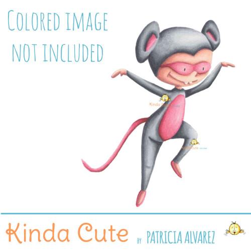 Mouse kid digital stamp