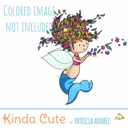 Fairy Mermaid Digital Stamp