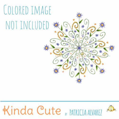 Slim Floral Mandala Digital Stamp