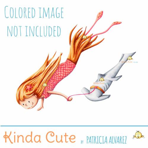 Squid mermaid with shark Digital Stamp