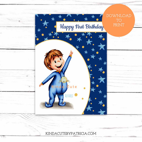 Baby Boy First Birthday Printable Card