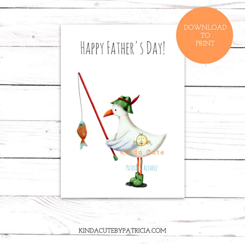 Seagull Fishing Father's Day Printable Card