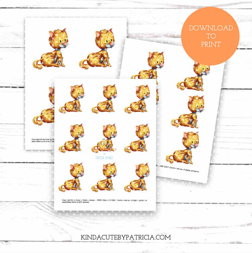 Little cat colored printable pages.