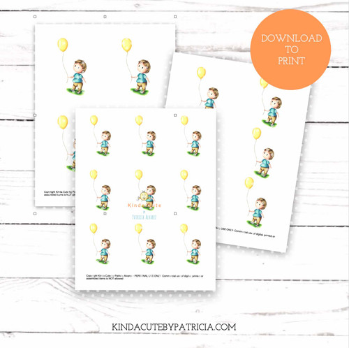 Baby with yellow balloon colored printable pages