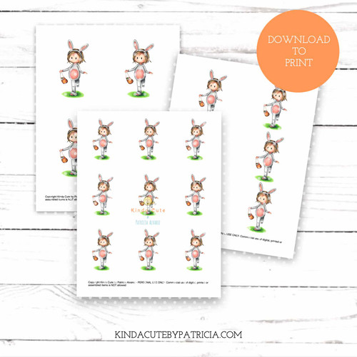 Easter girl colored printable pages