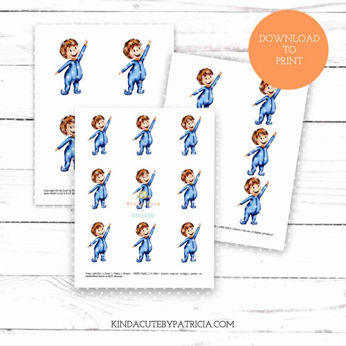 Little boy pointing colored printable pages