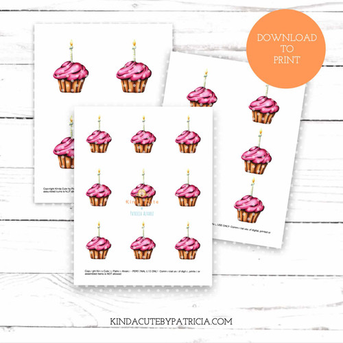 Cupcake with pink frosting and candle colored printable pages.
