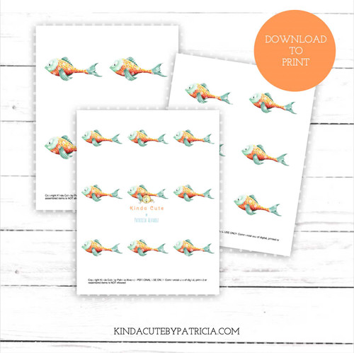 Happy fish colored printable pages