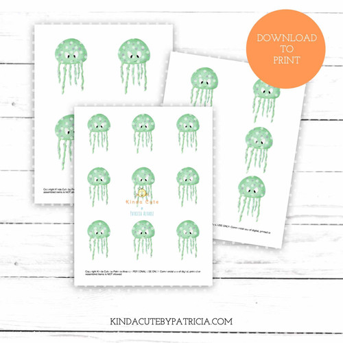 Green Jellyfish colored printable pages