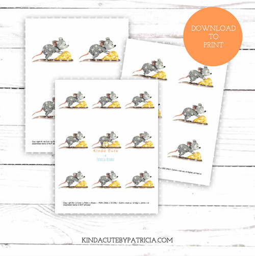 Mouse with cheese colored printable pages