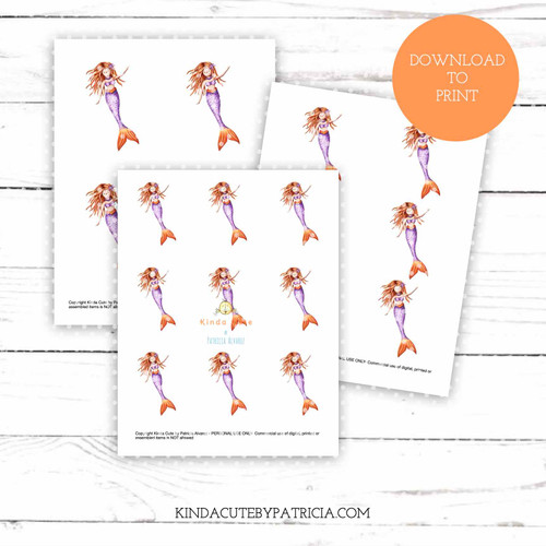 Mermaid colored printable pages