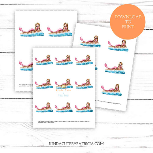 Mermaid on rock colored printable pages