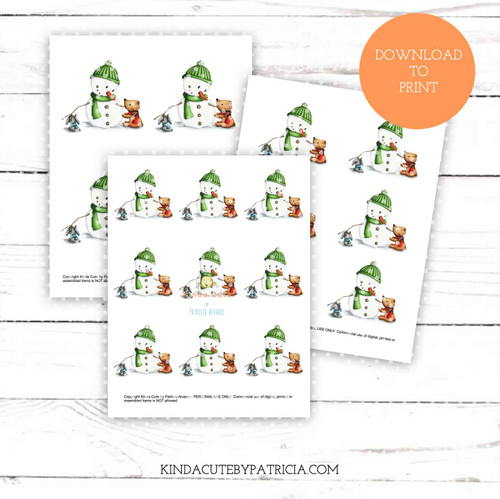 Snowman with friends colored printable pages