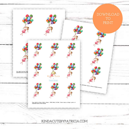 Girl with balloons colored printable pages