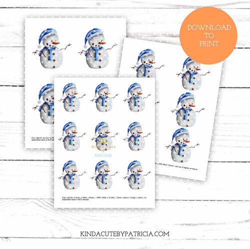 Snowman with blue hat colored printable pages