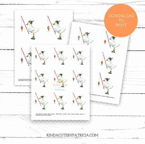 Seagull fishing colored printable pages
