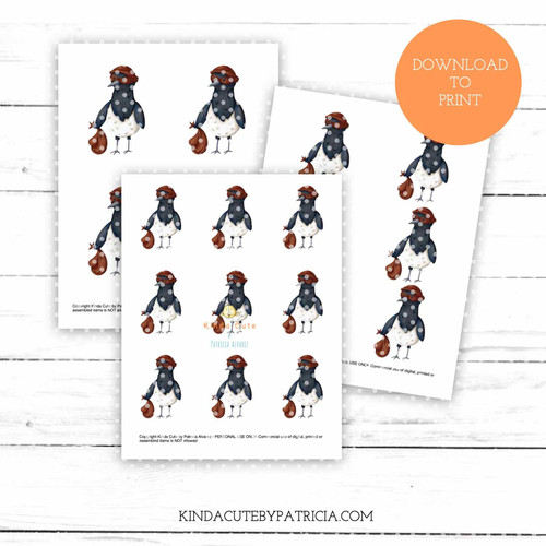 Magpie thief colored printable pages
