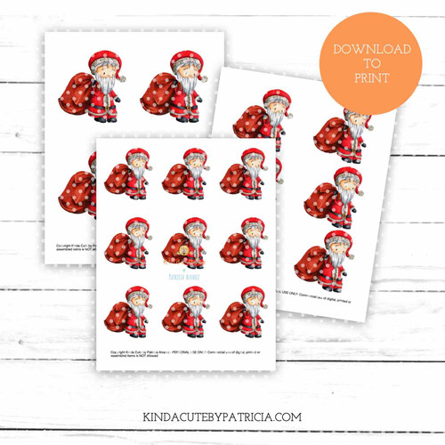 Santa Claus with bag of presents colored printable pages