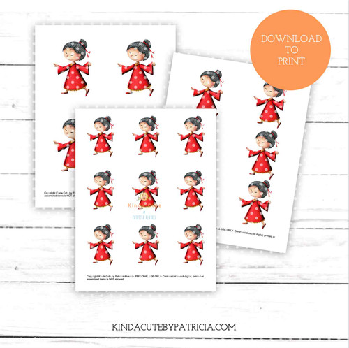 Asian girl dancing colored printable pages