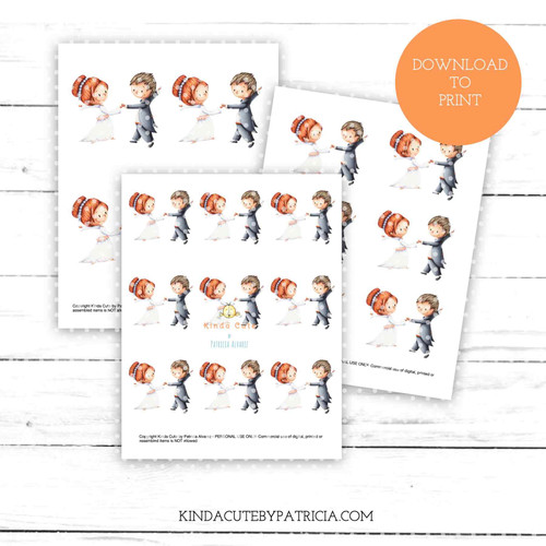 Bride and Groom dancing colored printable pages