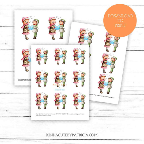 Kids singing carols colored printable pages.