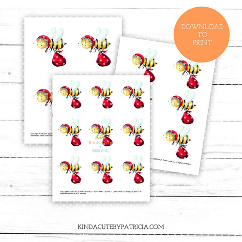 Santa bee colored printable pages