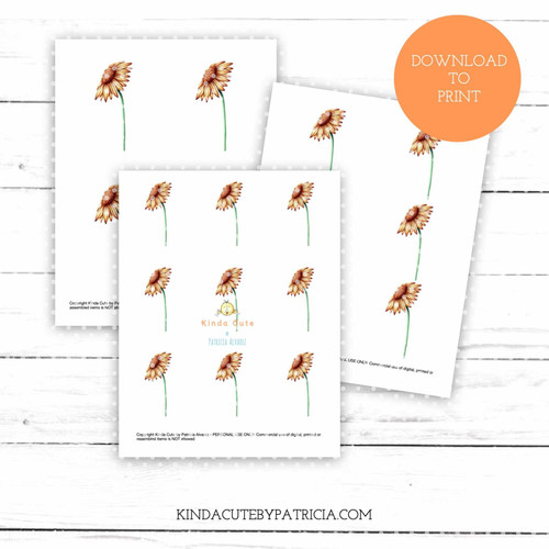 Sunflower colored printable pages