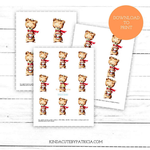 Bear with cup colored printable pages
