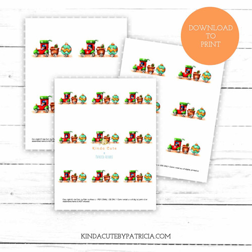Christmas train colored printable pages.