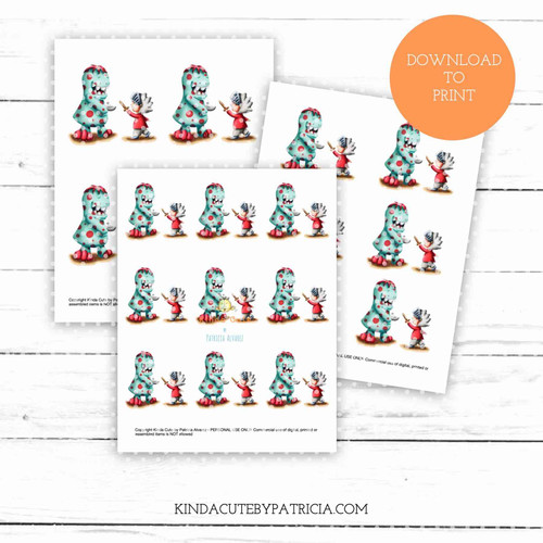 Boy and monster colored printable pages
