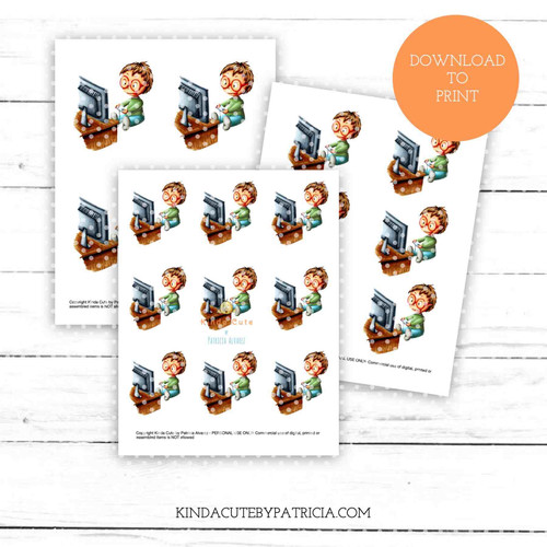 Boy gaming colored printable pages