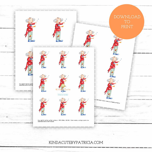 Happy Clown colored printable pages.