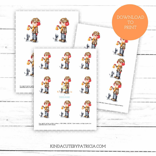 Boy with bell and a cat colored printable pages