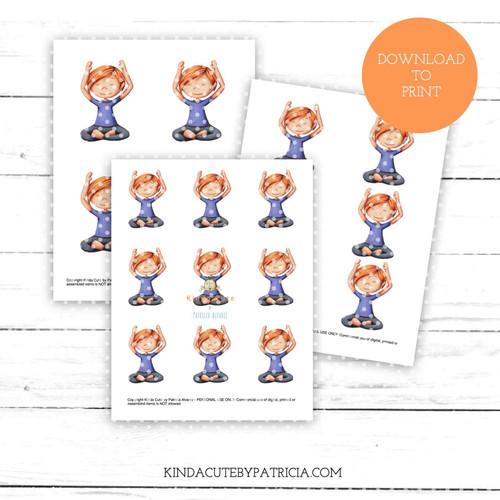 Girl doing yoga colored printable pages