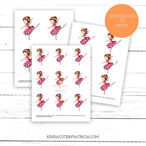 Ballerina dancing colored printable pages.