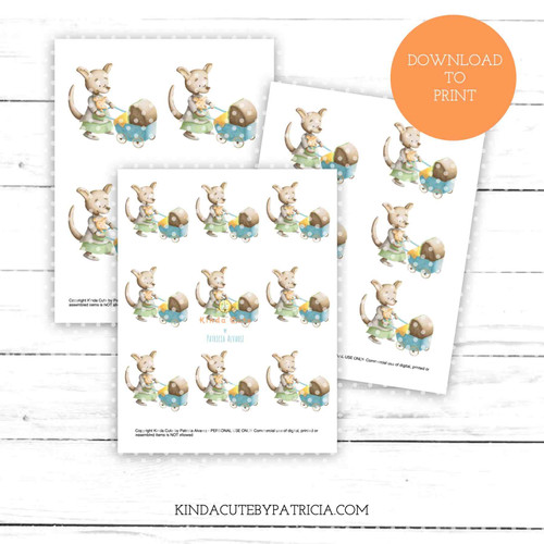 Kangaroo mum with stroller colored printable pages