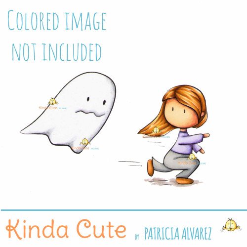 Girl and Ghost digital stamp. Black and white only