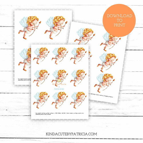 Cupid flying colored printable pages