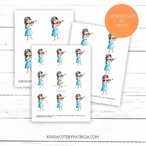 Girl playing the violin colored printable pages