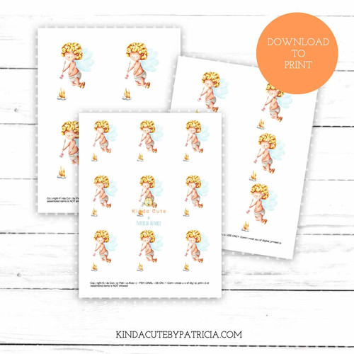 Cupid roasting marshmallow colored printable pages