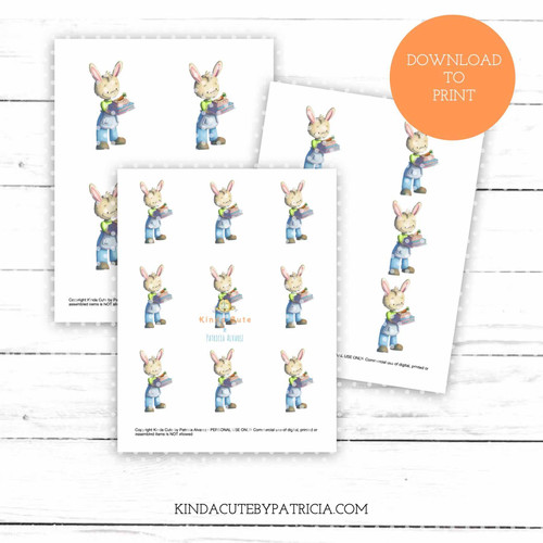 Rabbit with carrot cake colored printable pages