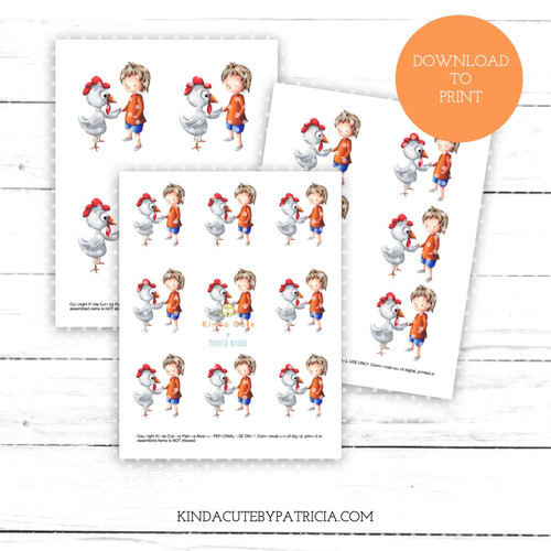 Boy and chicken colored printable pages