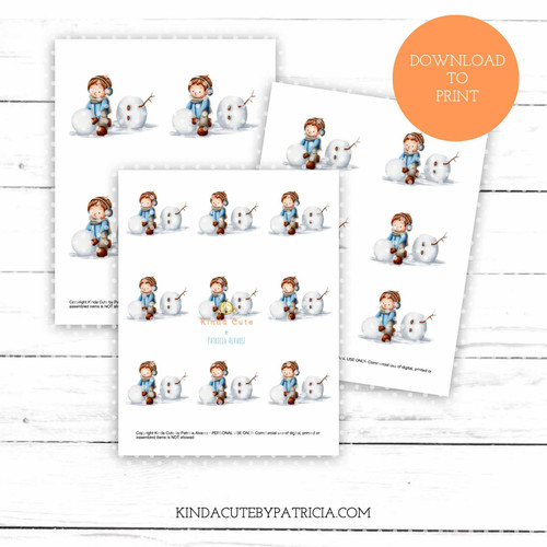 Boy building a snowman colored printable pages