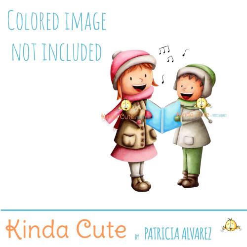 Kids Singing digital stamp