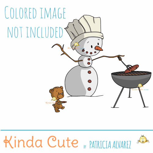 Snowman and Barbecue digital stamp