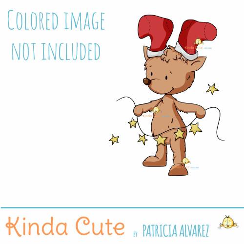 Reindeer and lights digital stamp
