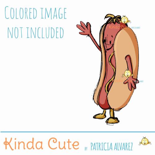 Hot dog waving sketch digital stamp