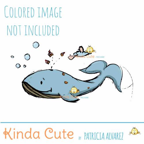 Cupcake Whale Sketch Digital Stamp
