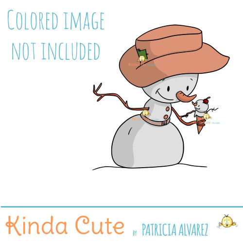 Snowman and ice cream digital stamp